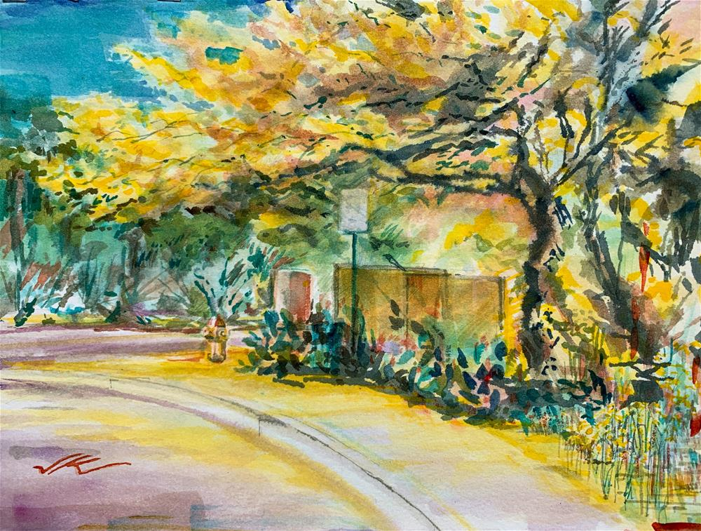 """Gate to the Garden - Palo Verde Trees"" original fine art by Jean Krueger"