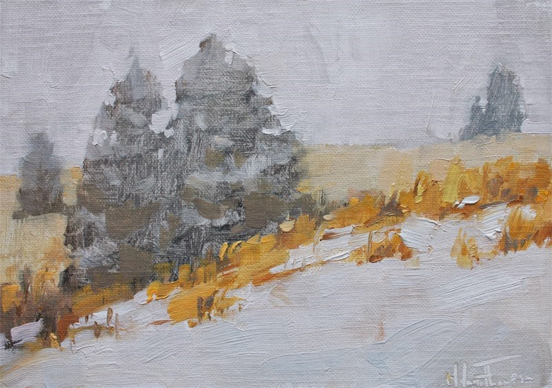"""Hillside Snow"" original fine art by Melanie Thompson"