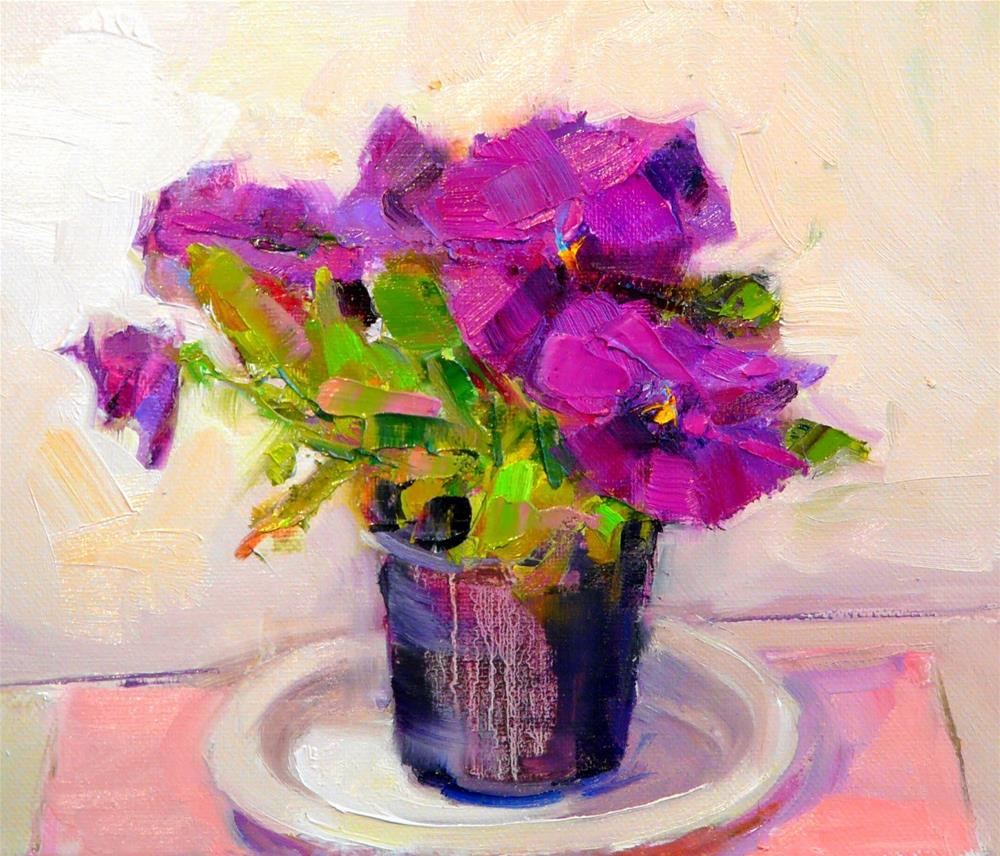 """Purple Pansies in Pot,still life,oil on canvas,8x10,priceNFS"" original fine art by Joy Olney"