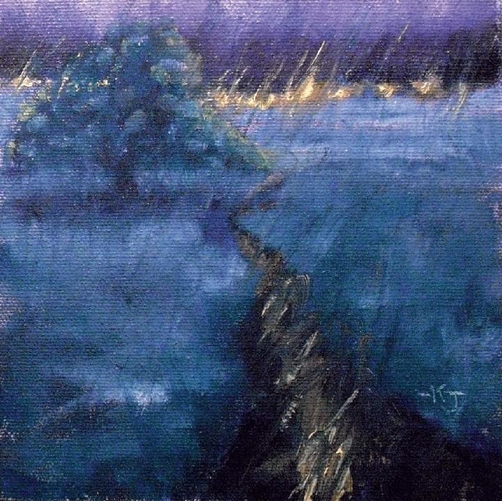 """#10 Lone Oak, Stormy Evening"" original fine art by Kathy Johnson"