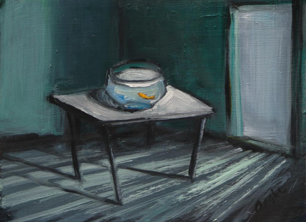 """Green Room with Goldfish"" original fine art by Angela Ooghe"