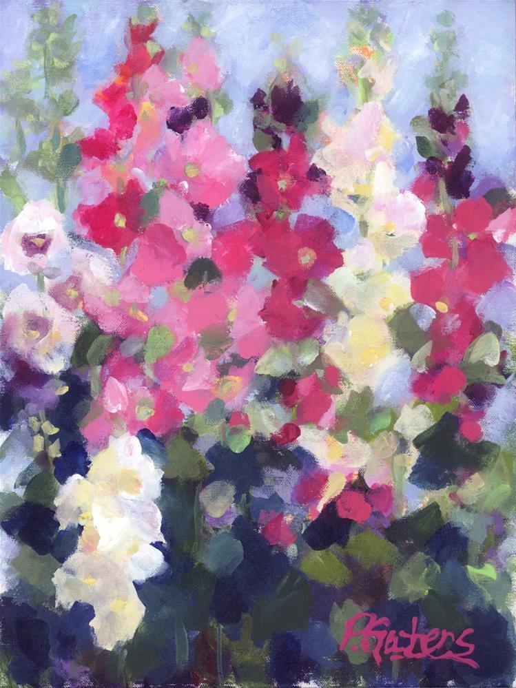"""""""Hollyhocks in My Garden"""" original fine art by Pamela Gatens"""