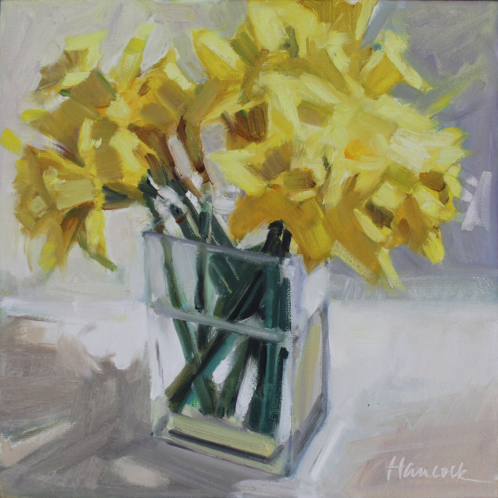 """Daffodil Bouquet on White"" original fine art by Gretchen Hancock"