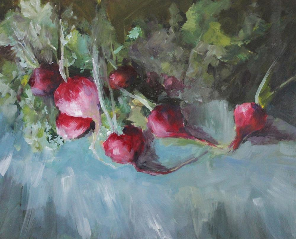 """Original oil radish still life food art impressionism painting"" original fine art by Alice Harpel"