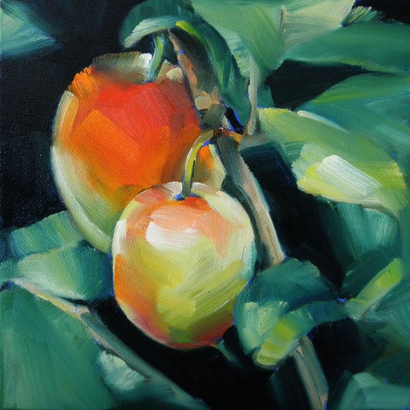 """Two Plums on Branch"" original fine art by Cheryl Wilson"