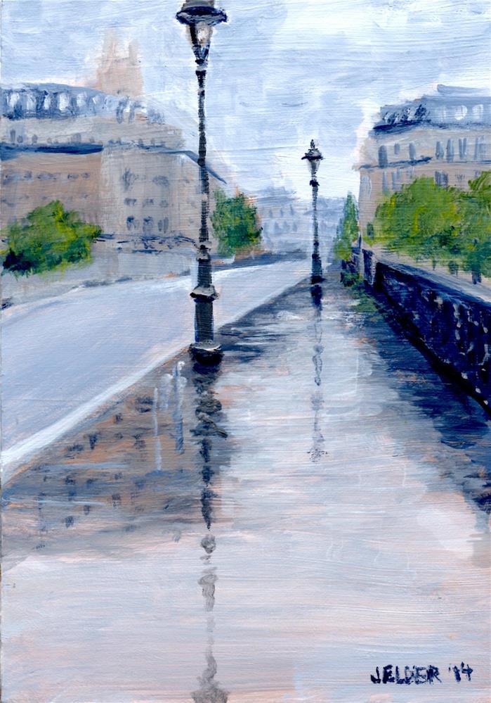 """""""Paris No. 33, Rainy"""" original fine art by Judith Elder"""