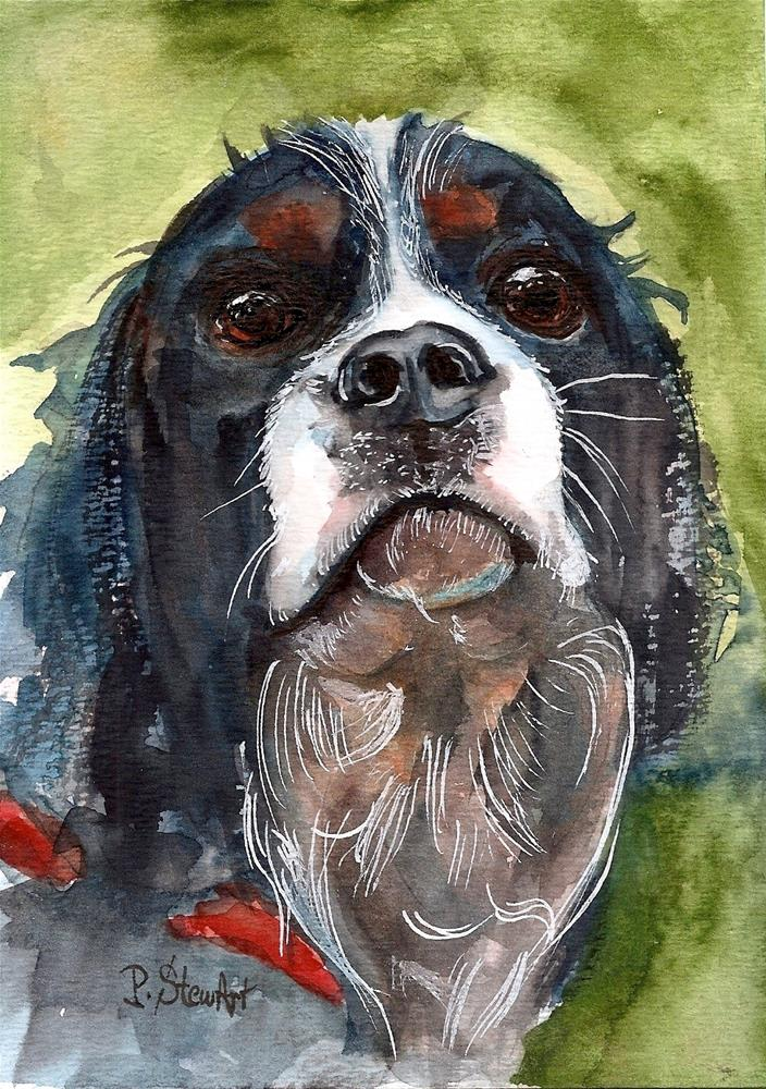 """5x7 Cavalier King Charles Spaniel Puppy Dog Pet Portrait Watercolor Penny Lee StewArt"" original fine art by Penny Lee StewArt"