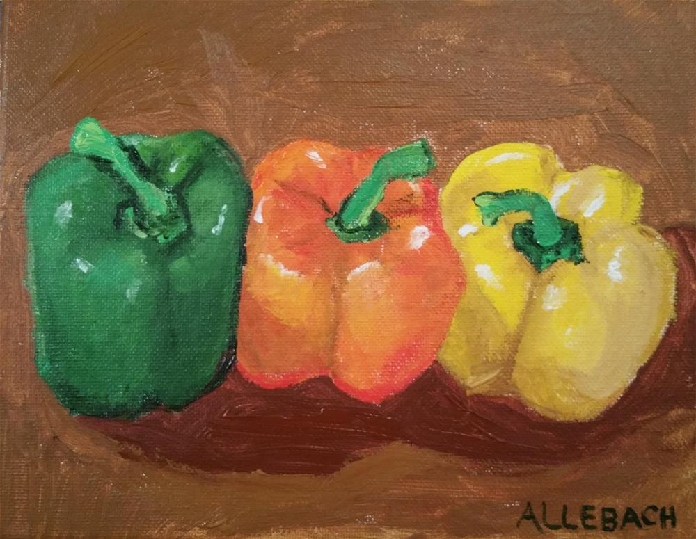 """3 Colorful Peppers"" original fine art by Jo Allebach"