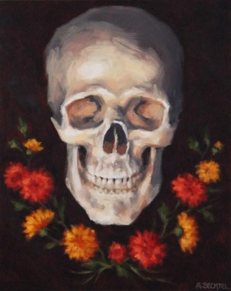 """Skull with Mums"" original fine art by Sarah Becktel"