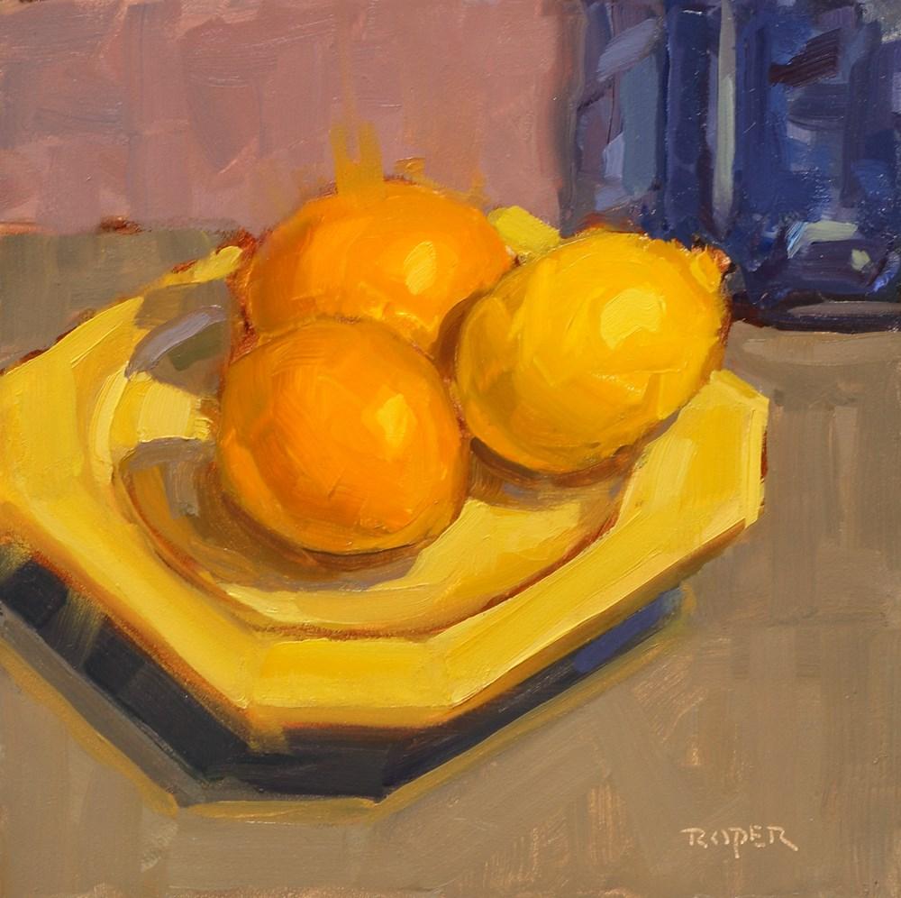 """""""Meyer Lemons on Fiesta"""" original fine art by Stuart Roper"""