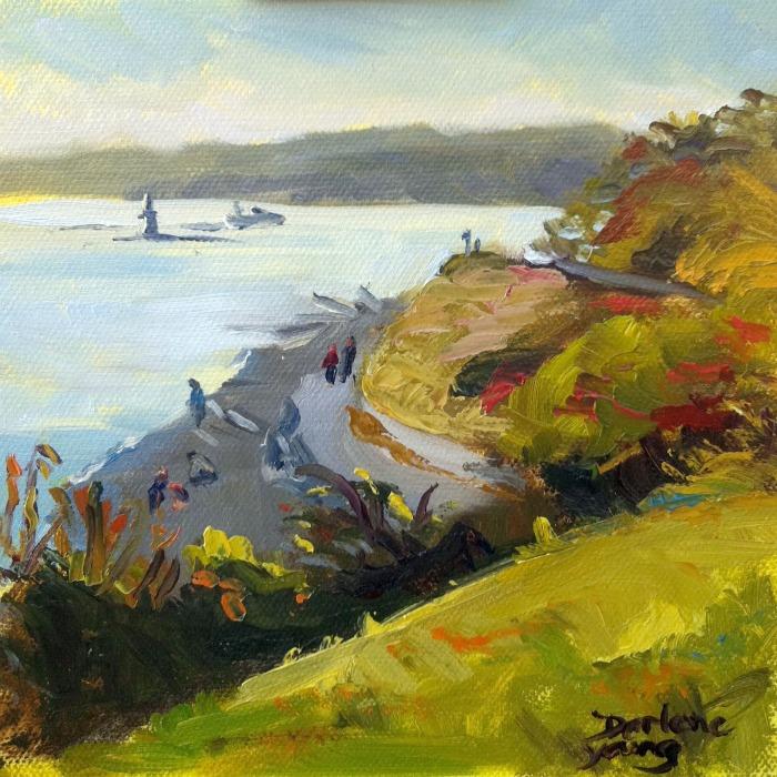 """Fonyo Beach November, oil on canvas board, 6x6"" original fine art by Darlene Young"