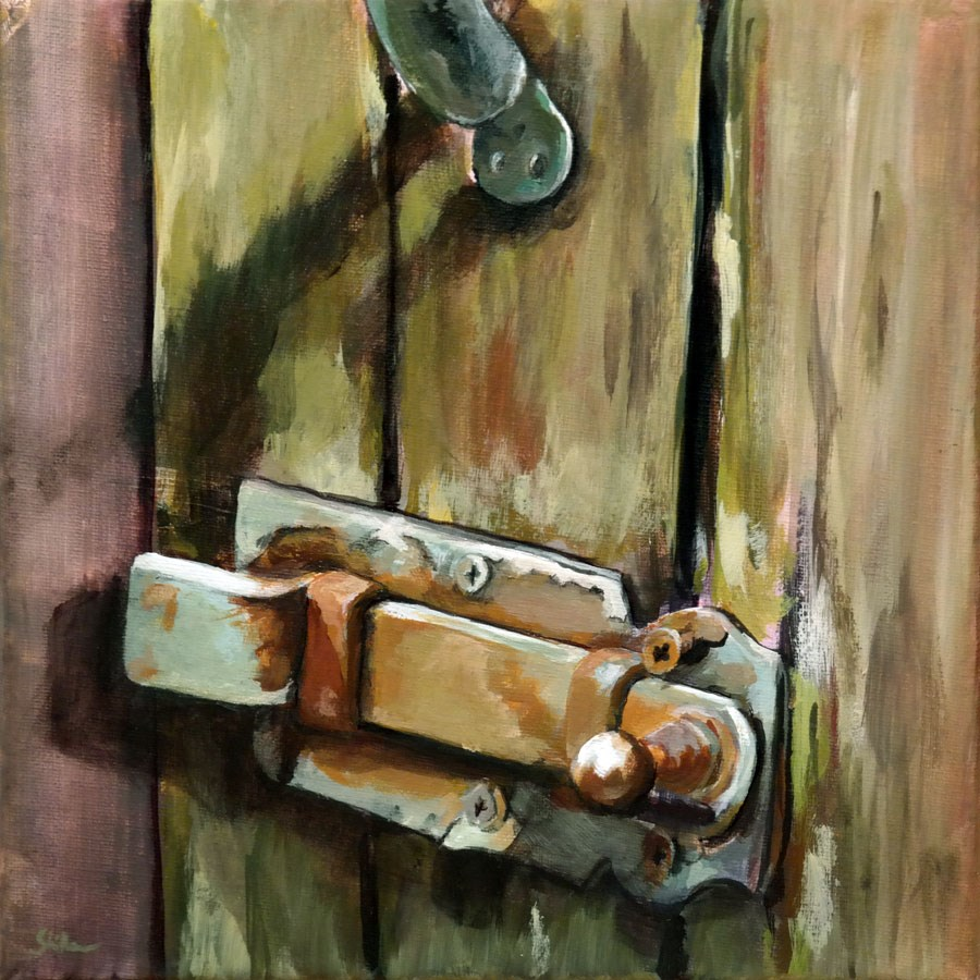 """1086 Door Lock (series 6)"" original fine art by Dietmar Stiller"
