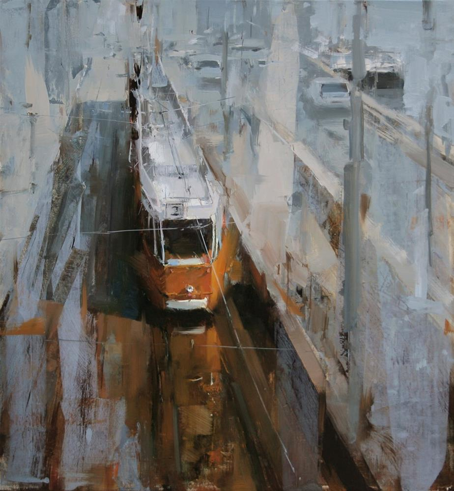 """Tram Stop in the Morning"" original fine art by Tibor Nagy"