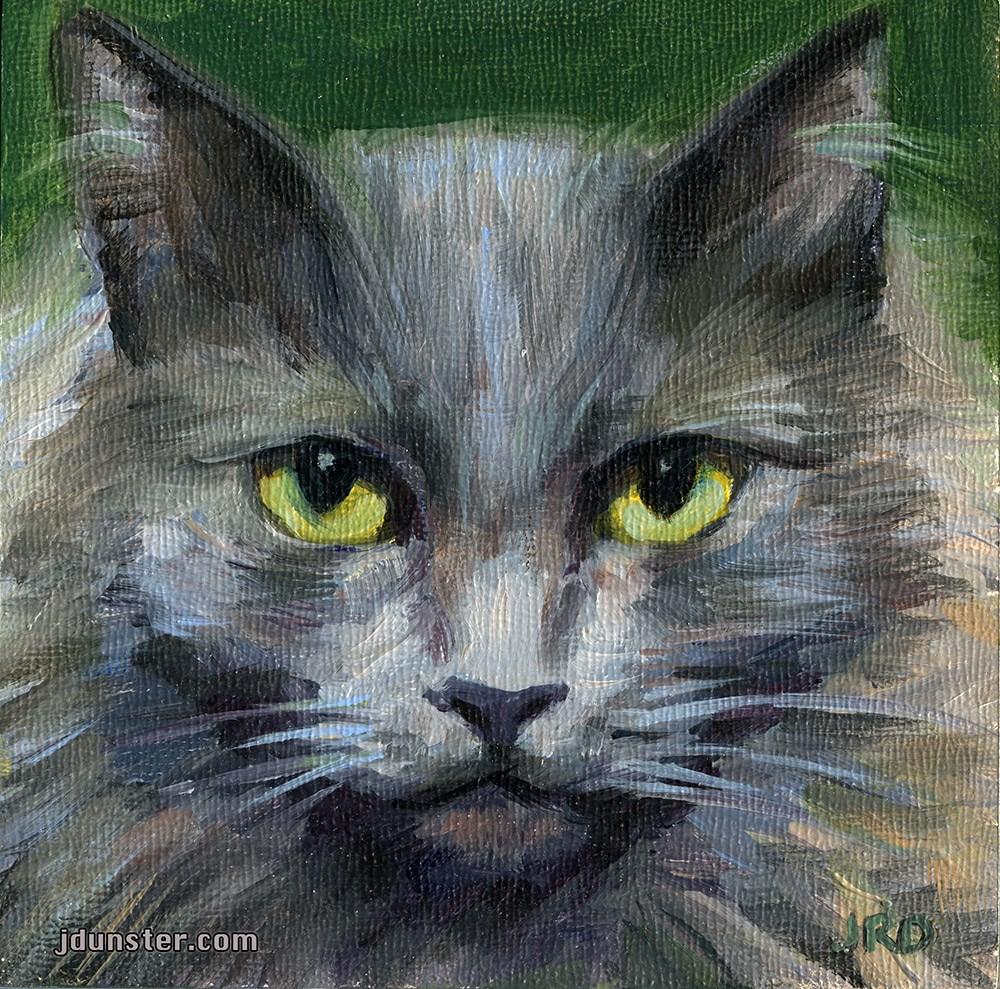 """GREY & GROUCHY CAT HEAD"" original fine art by J. Dunster"