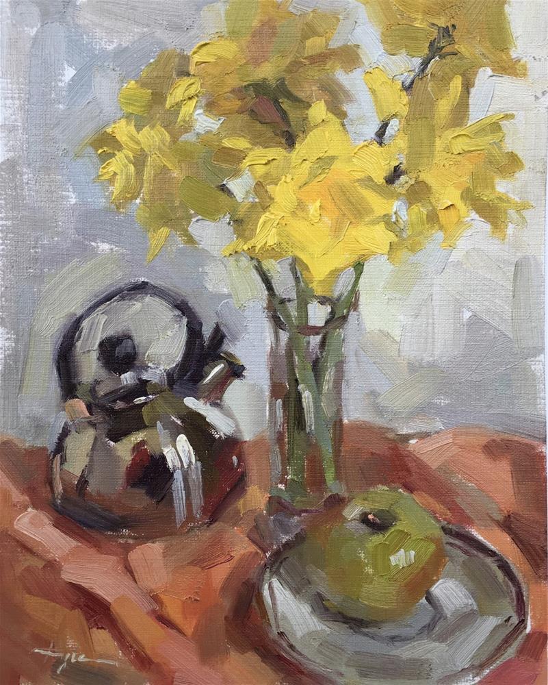 """Daffodils with Tea Kettle"" original fine art by Katia Kyte"