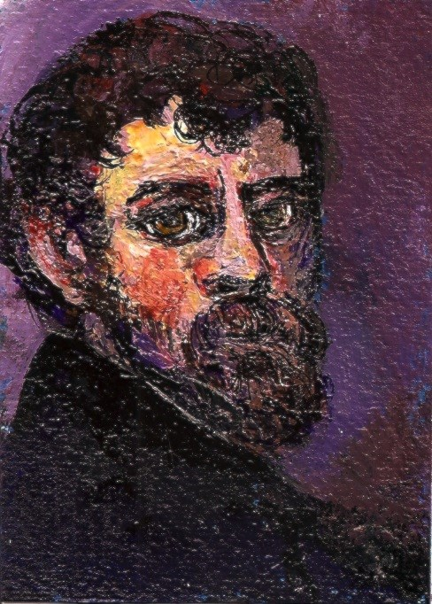 """ACEO In the Style of Tintoretto Self Portrait Mini Masters Painting Penny StewArt"" original fine art by Penny Lee StewArt"