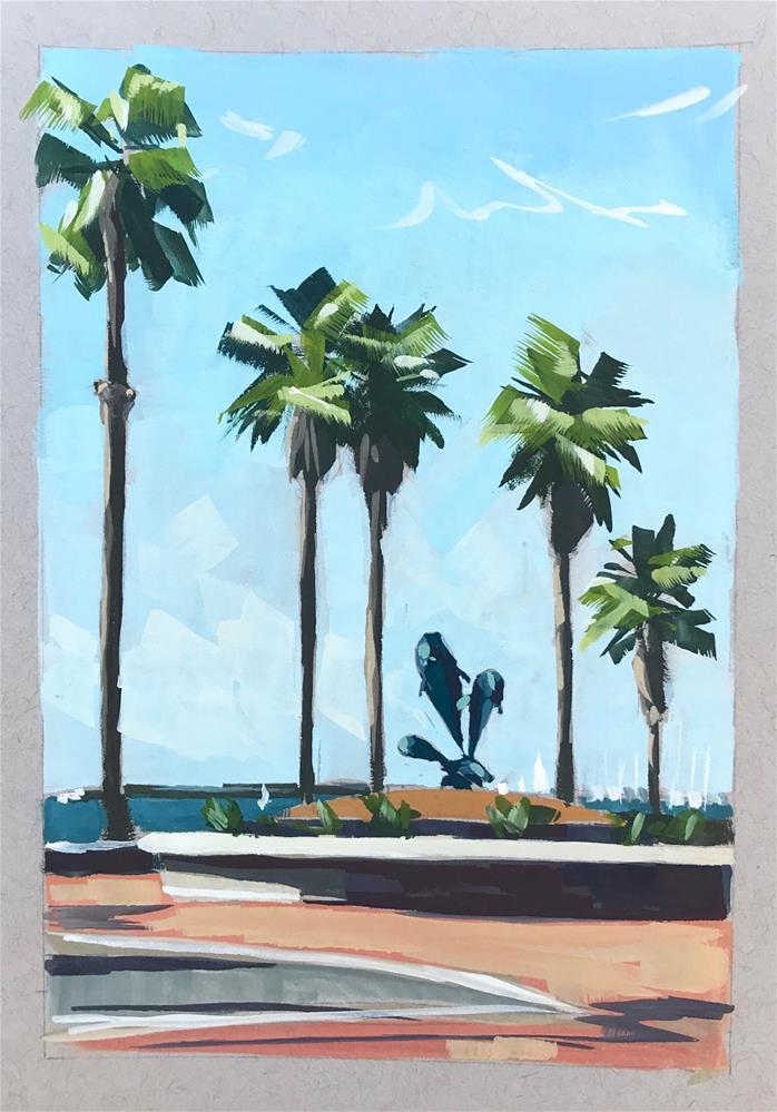 """Dolphin Fountain Santa Barbara"" original fine art by Sharon Schock"