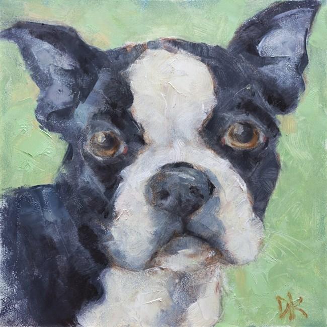 """Dog Days of Summer - Belvedere - Boston Terrier paintng by Deb Kirkeeide"" original fine art by Deb Kirkeeide"