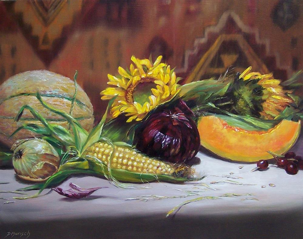 """""""Sunflower Feast"""" original fine art by Donna Munsch"""