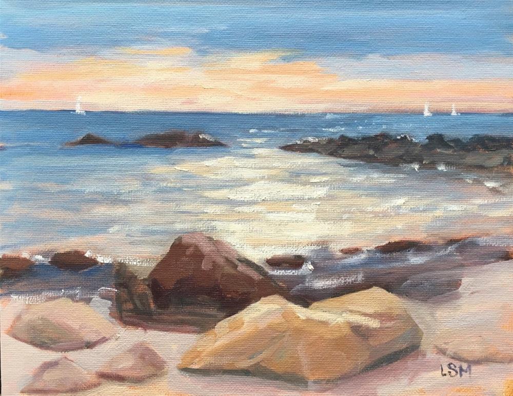 """""""Glimmer of Hope, Hamonnasset Beach Madison, CT"""" original fine art by Linda Marino"""
