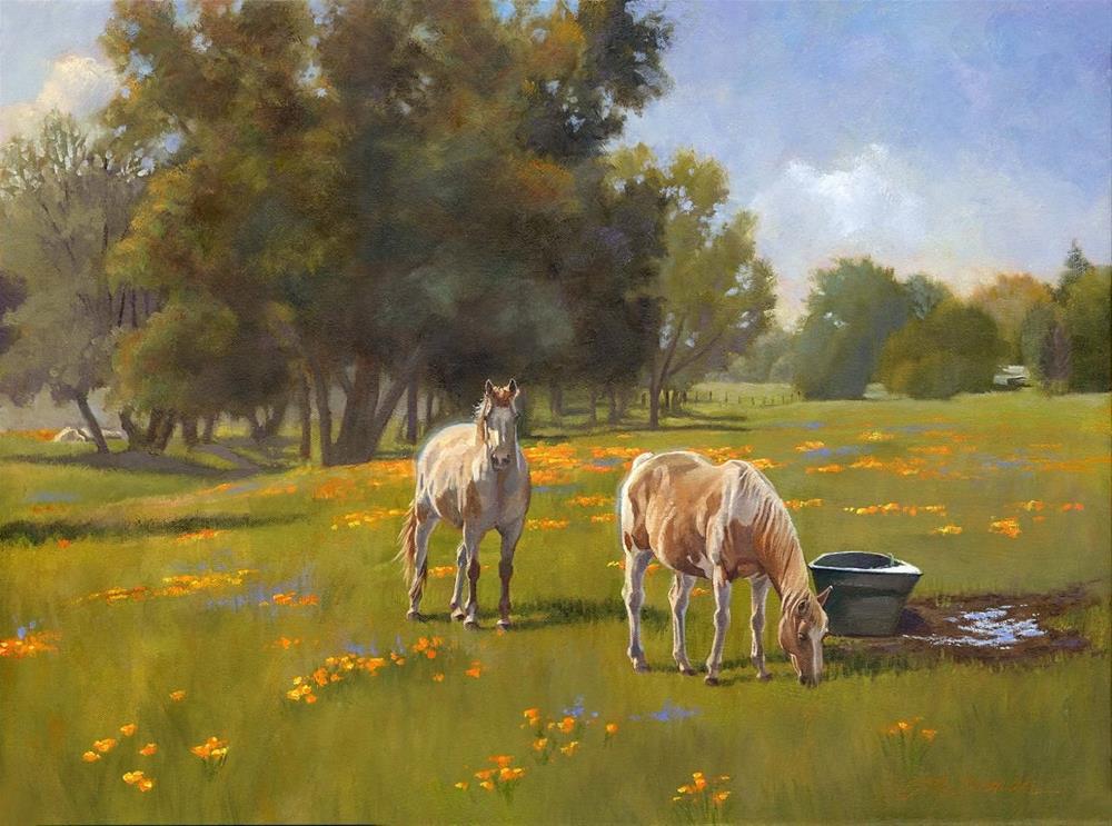 """Poppies & Ponies"" original fine art by Connie McLennan"