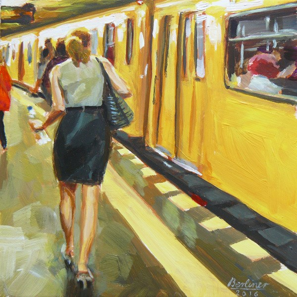 """054 Sommerhitze in der U-Bahn"" original fine art by Anja Berliner"
