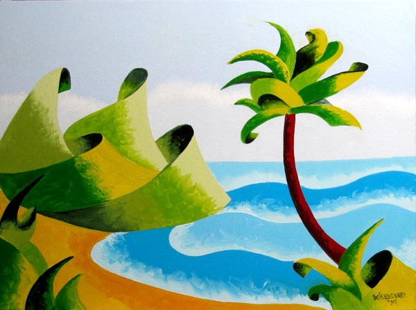 """""""Mark Webster - Abstract Geometric Island with Palm Tree Seascape Oil Painting"""" original fine art by Mark Webster"""