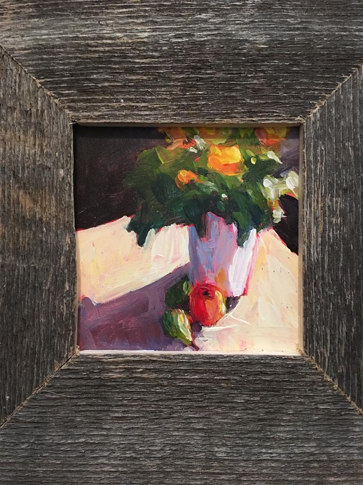 """""""Potted Flowers with pear"""" original fine art by Shelley Garries"""