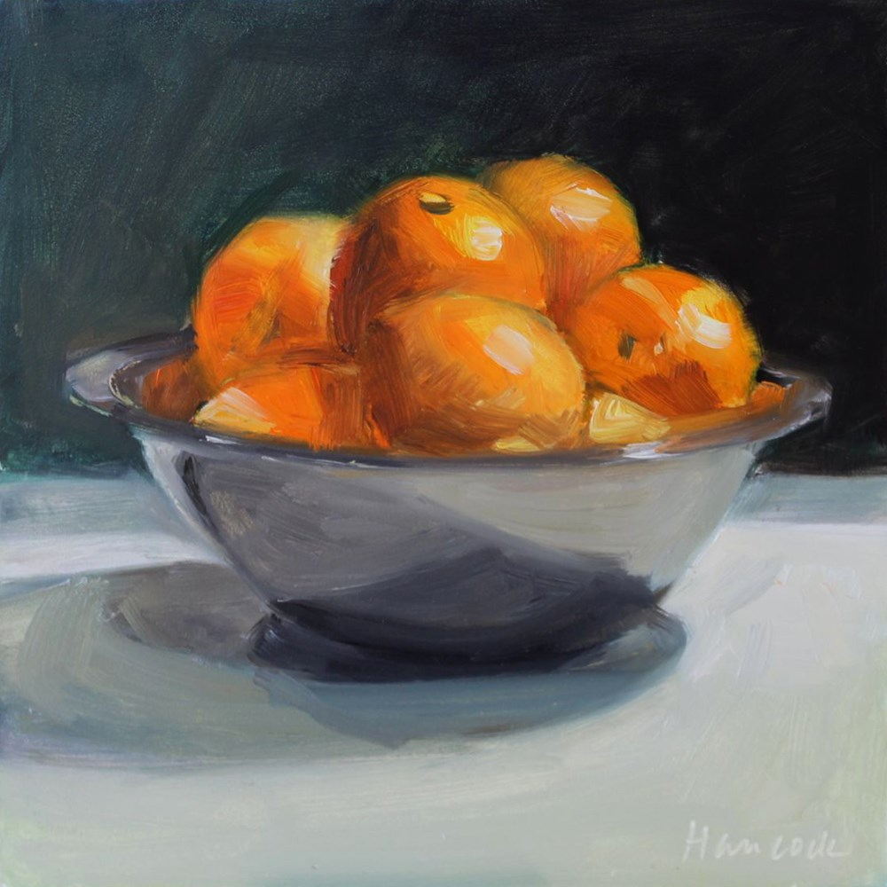 """Oranges in Silver Bowl"" original fine art by Gretchen Hancock"