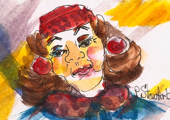"""""""ACEO 50's Glamour Puss Woman wearing pill box hat and faux fur, big hair"""" original fine art by Penny Lee StewArt"""