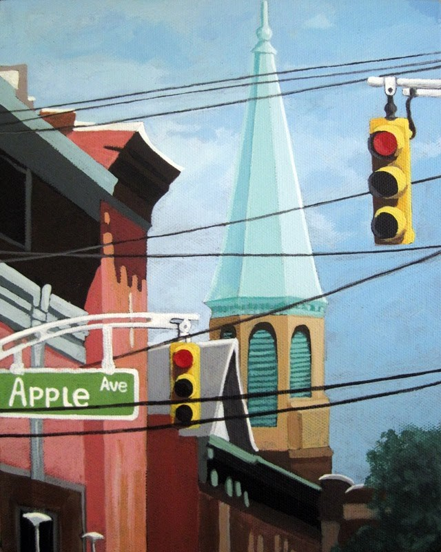 """""""City Power architecture high wires city tower"""" original fine art by Linda Apple"""