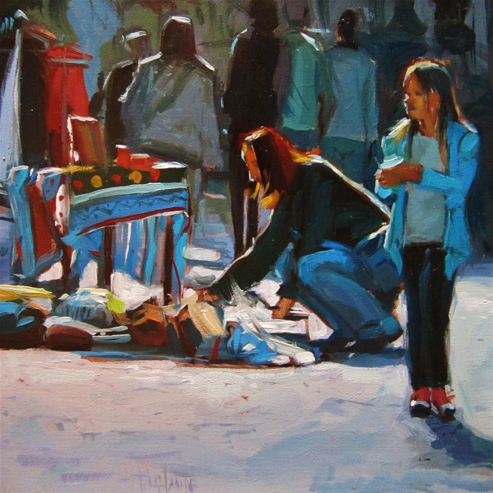 """Shopping at second hand market"" original fine art by Víctor Tristante"