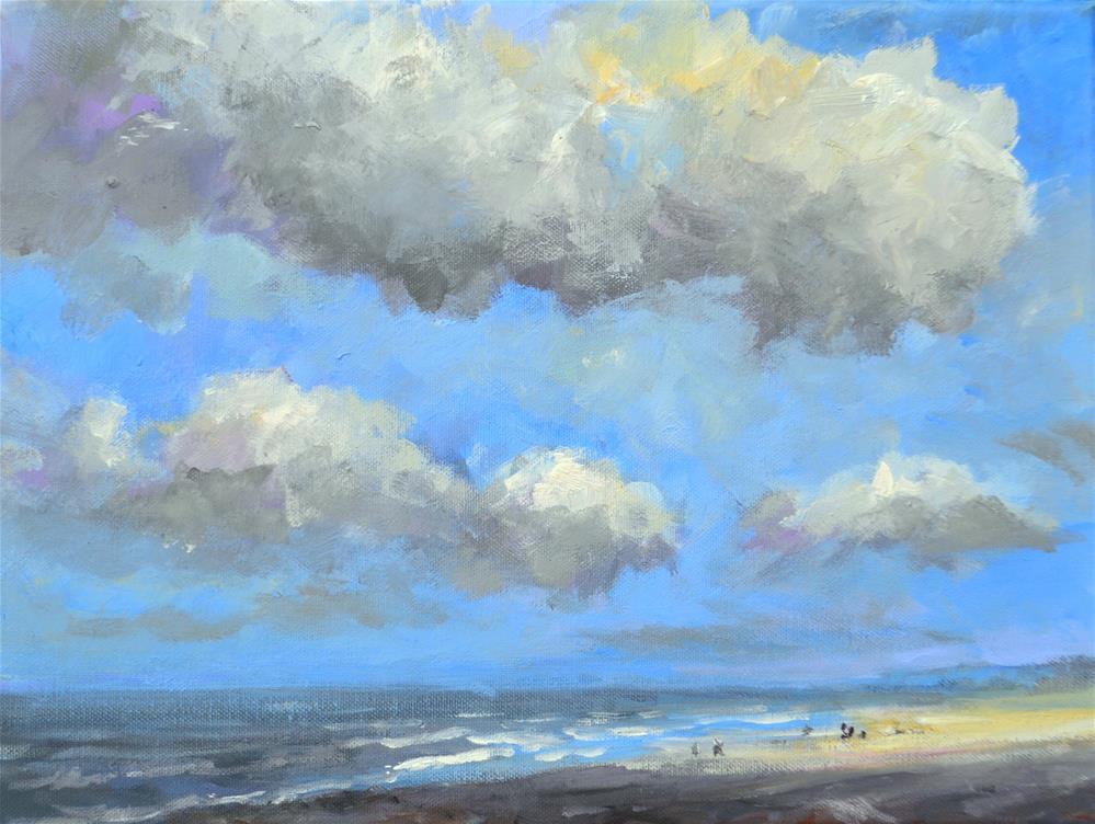 """Rainy day Beach July 2016"" original fine art by Wim Van De Wege"