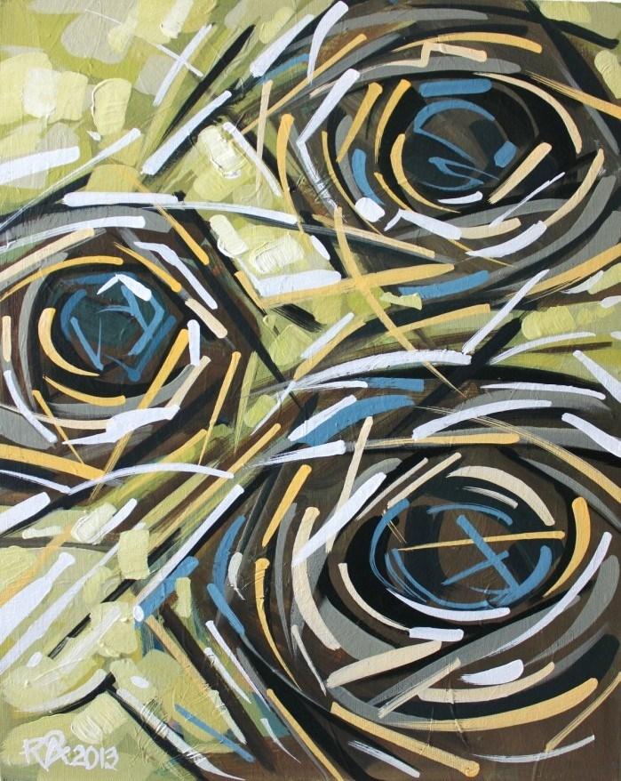 """Bird's Nest Abstraction 21"" original fine art by Roger Akesson"