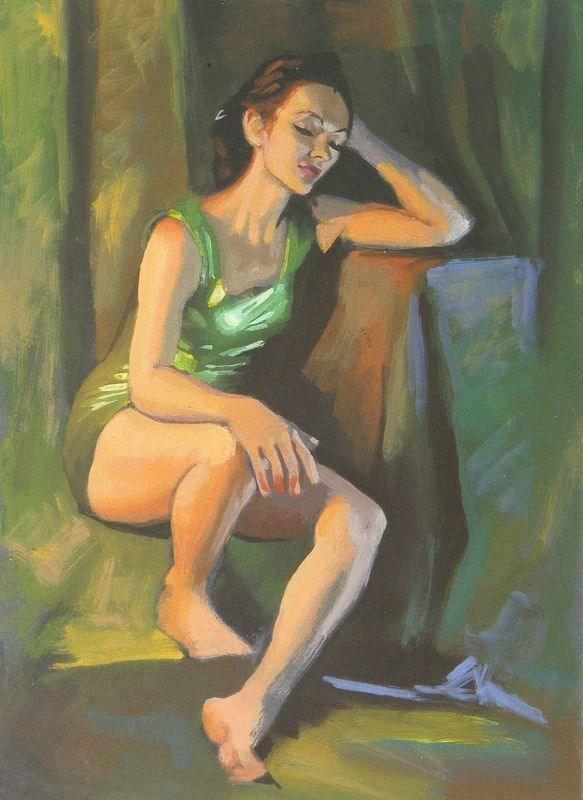 """Green dress"" original fine art by Peter Orrock"