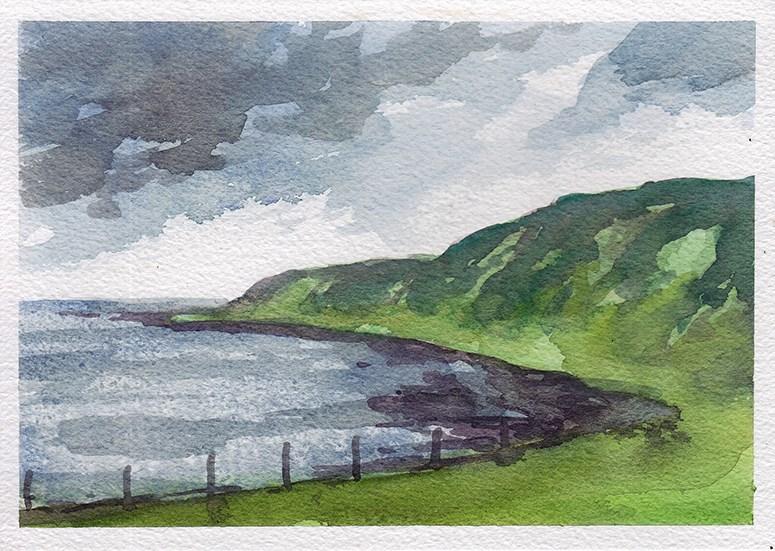 """Scottish Coast Sketch"" original fine art by J M Needham"