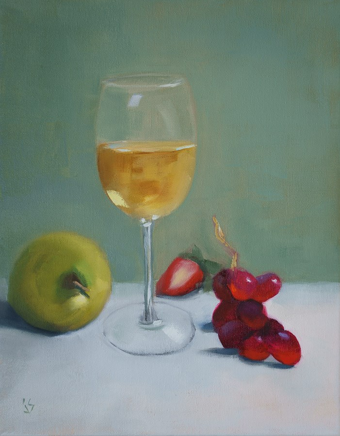 """""""Happy Hour at Last   (14x11)"""" original fine art by Johnna Schelling"""