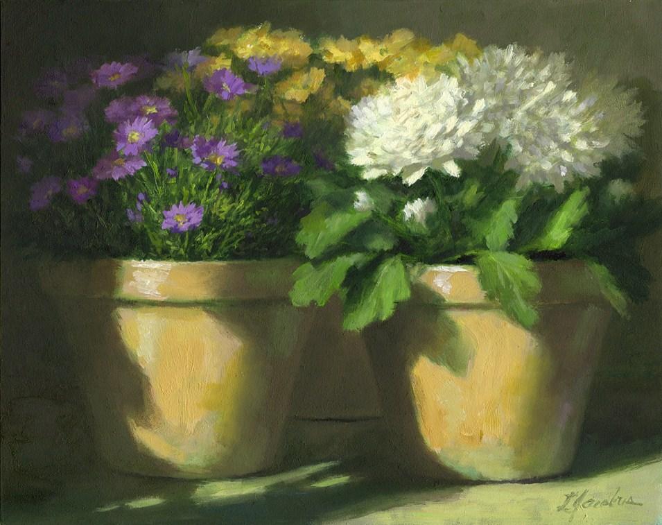 """White Mums"" original fine art by Linda Jacobus"