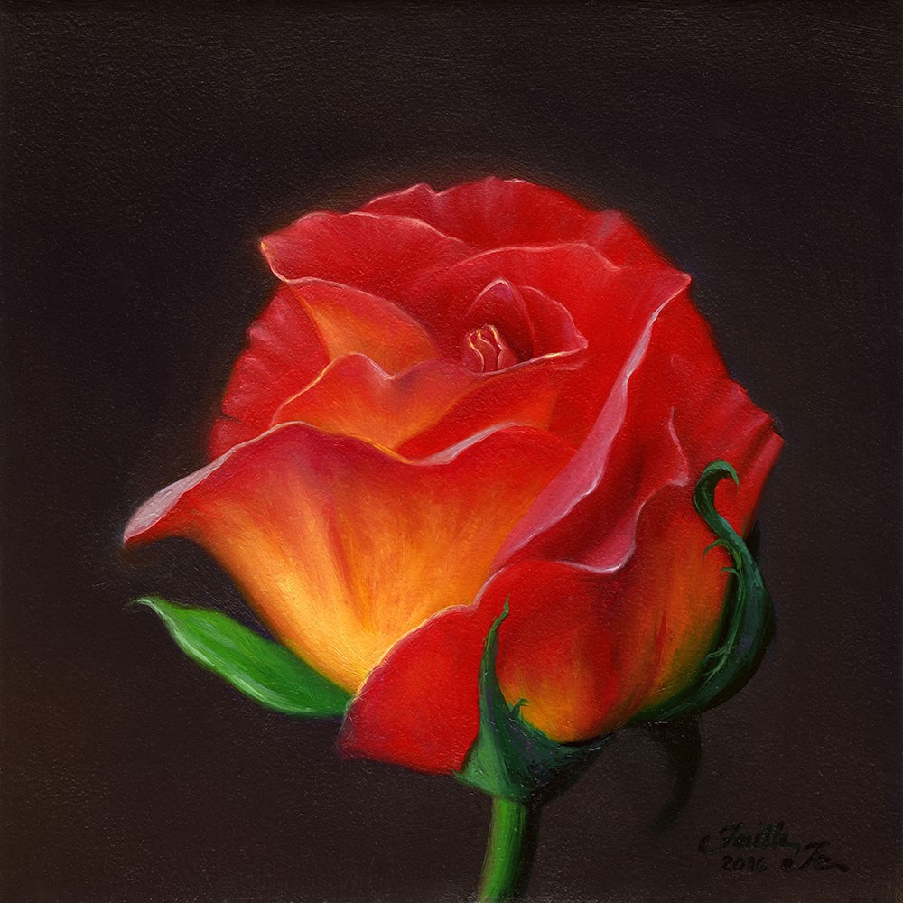 """Red Rose, Yellow Rose"" original fine art by Faith Te"