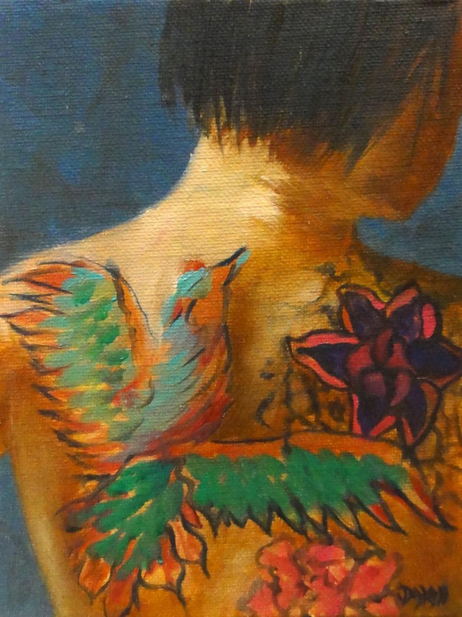 """""""Phoenix Tattoo Sketch"""" original fine art by Dalan Wells"""