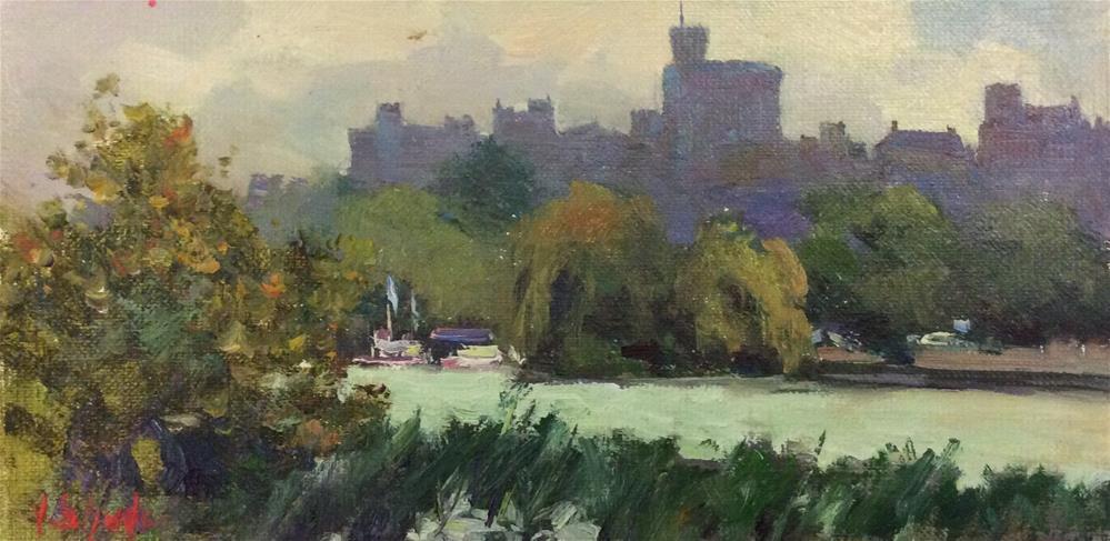 """Across the Water Meadows.. Windsor"" original fine art by John Shave"