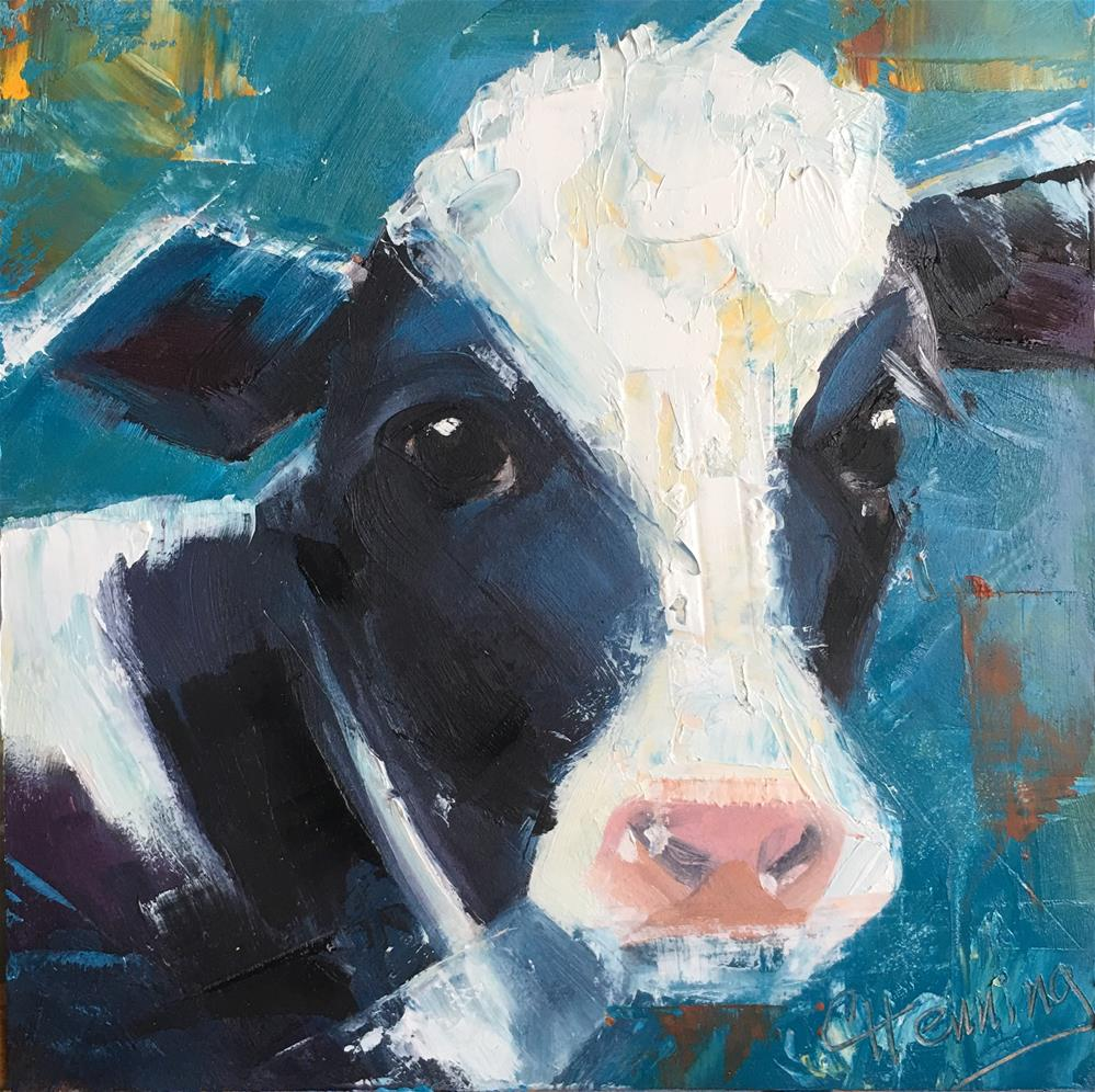 """Teal Cow"" original fine art by Claire Henning"