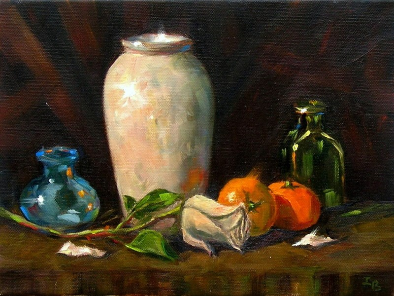 """Still life with a rose"" original fine art by Irina Beskina"