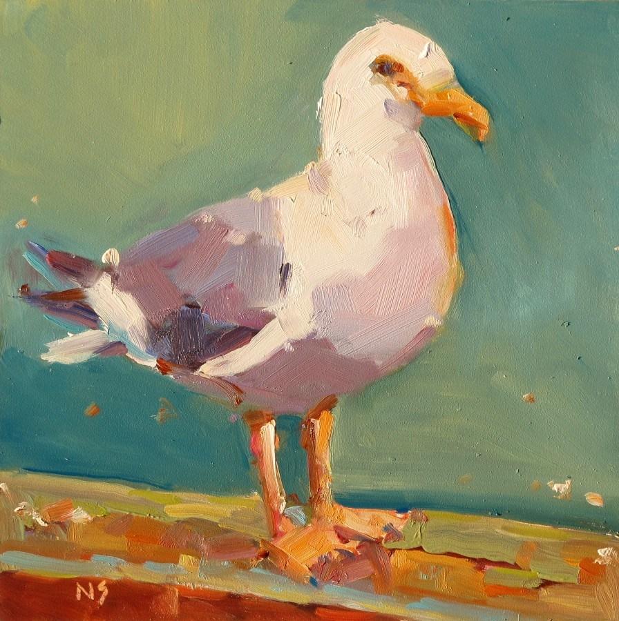 """Seagull (DPW challenge) 12119"" original fine art by Nancy Standlee"