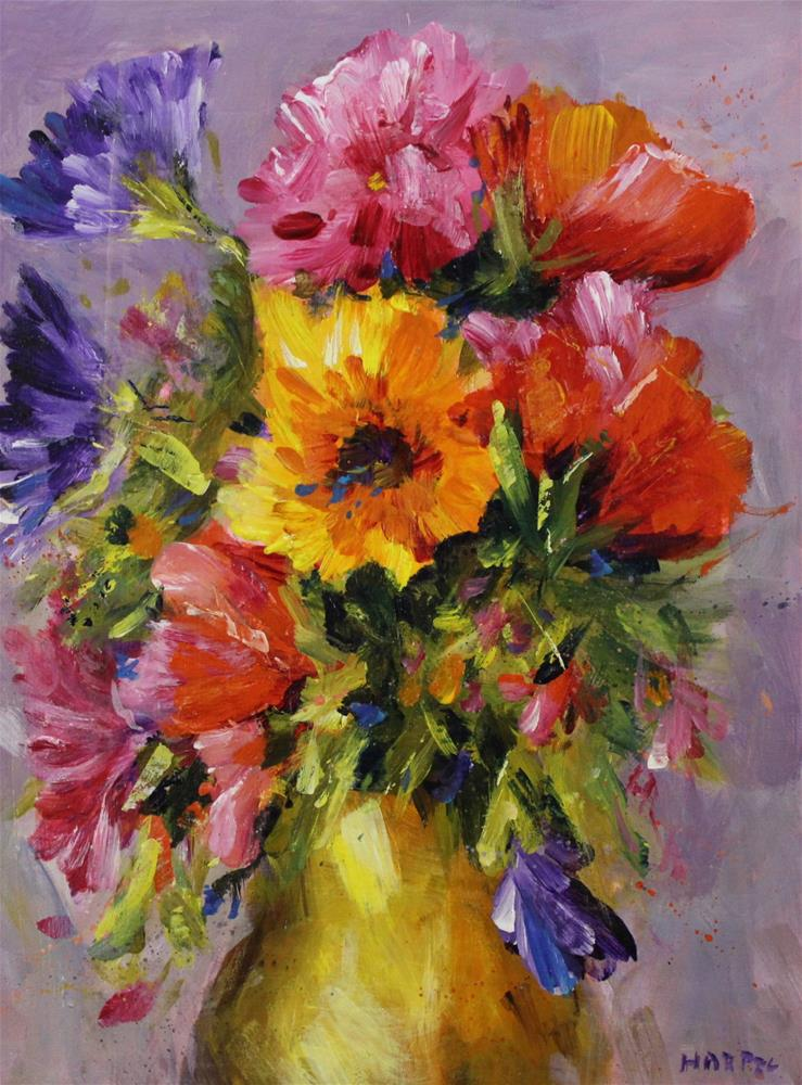 """Original acrylic floral flower bouquet painting"" original fine art by Alice Harpel"