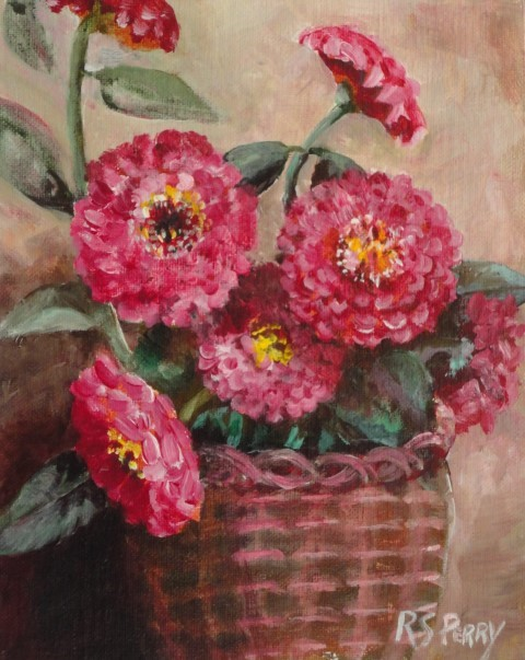 """Zinnias in a Basket "" original fine art by R. S. Perry"