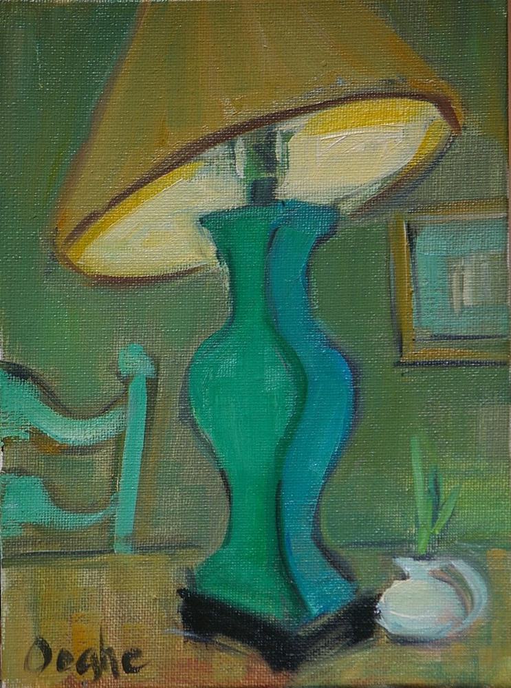 """""""Still Life with Green Lamp"""" original fine art by Angela Ooghe"""