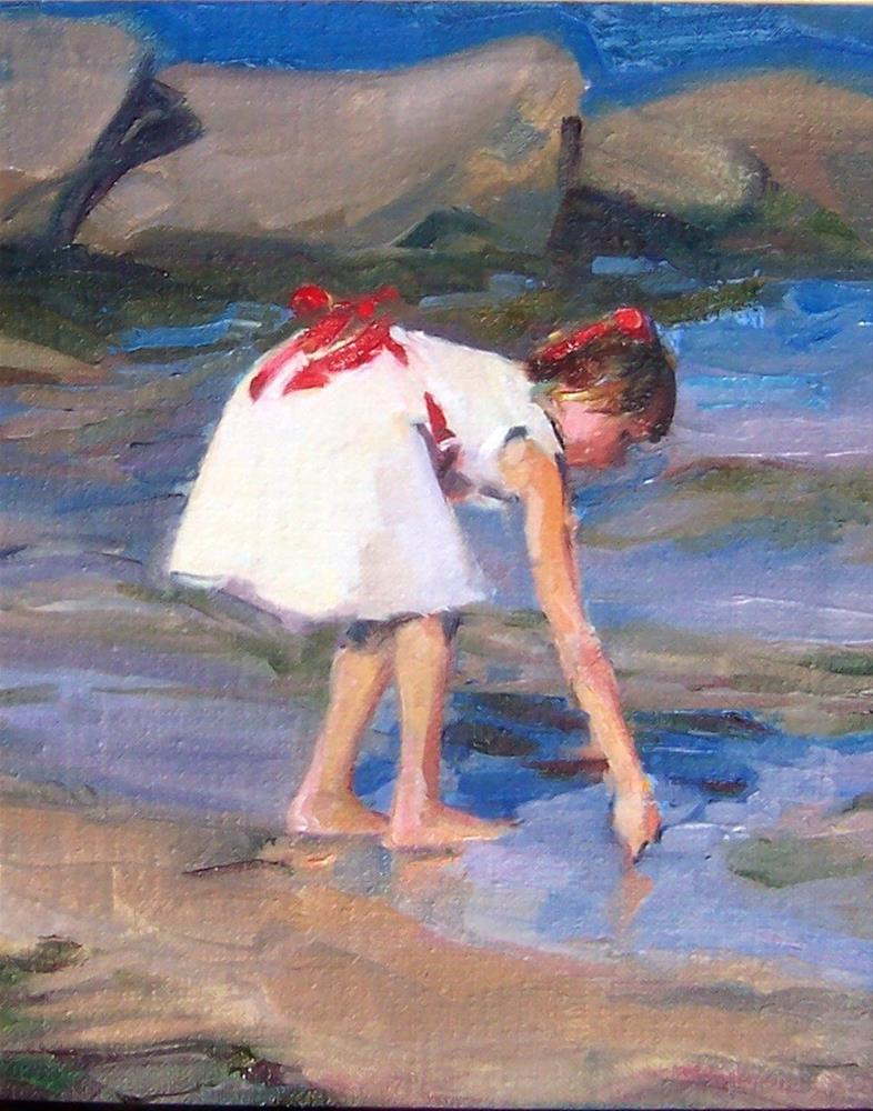 """""""Sunday Afternoon at the Lake,figure,oil on canvas,10x8,price$475"""" original fine art by Joy Olney"""