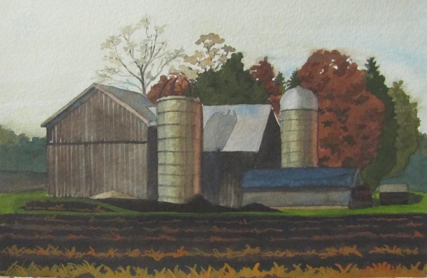 """53 - Lincolnshire Farm"" original fine art by Edward Watson"