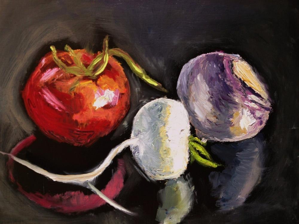 """Veggies on Black Table"" original fine art by Gary Bruton"